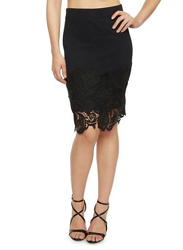 Crochet Ponte Pencil Skirt,BLACK,large