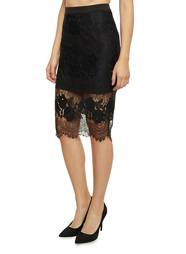 Midi Pencil Skirt with Lace Overlay,BLACK,large