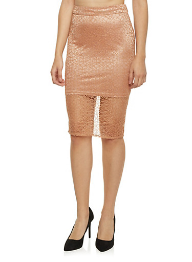 Midi Skirt with Lace Overlay,GINGER,large
