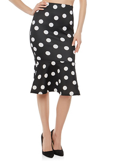 Flounce Hem Polka Dot Pencil Skirt,BLACK/WHITE,large