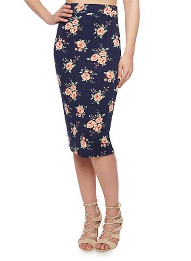 Floral Print Pencil Skirt,NAVY,large