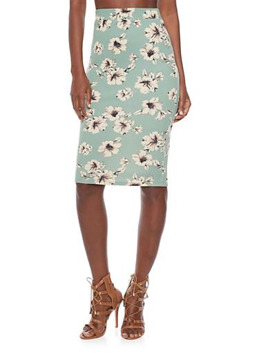 Mid Length Floral Pencil Skirt,SAGE,large