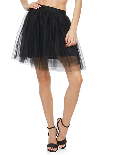 Mini Tulle Skater Skirt,BLACK,large