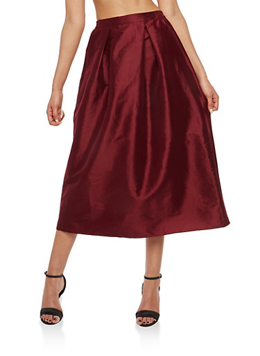 Pleated Taffeta Skirt,WINE,large