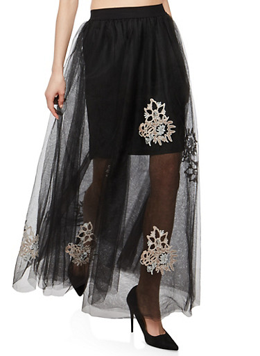Embroidered Tulle Maxi Skirt,BLACK,large