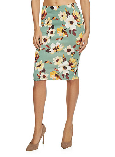 Floral Print Pencil Skirt,SAGE,large