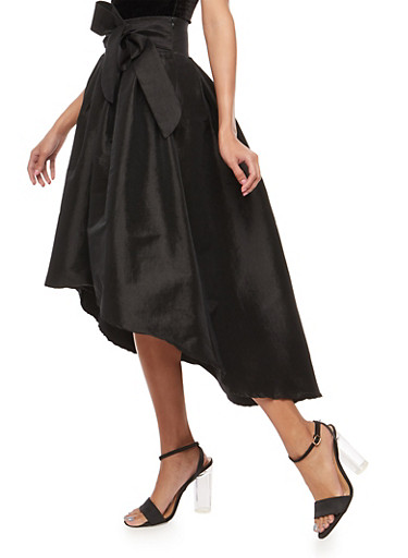 High Low Taffeta Circle Skirt,BLACK,large