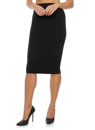 Elastic Waistband Pencil Skirt,BLACK,large