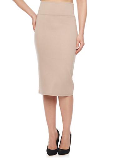 Solid Pencil Skirt,KHAKI,large