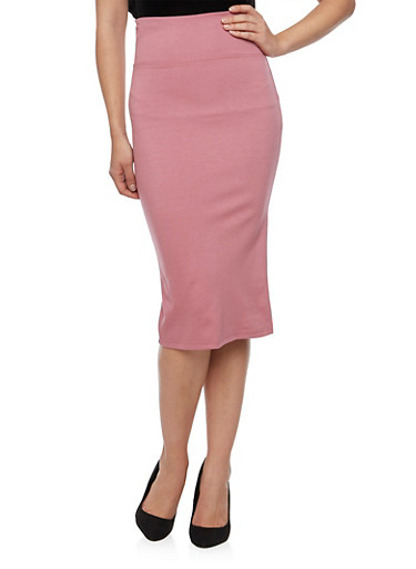 Solid Pencil Skirt,MAUVE,large