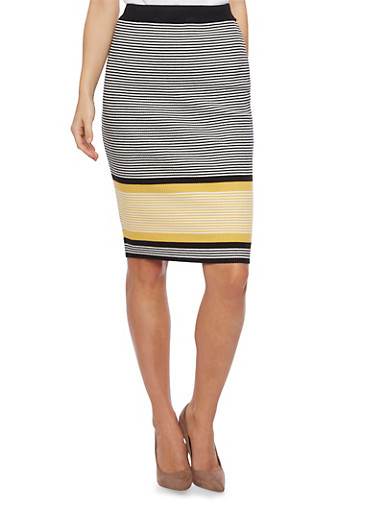 Striped Sweater Skirt,MUSTARD,large