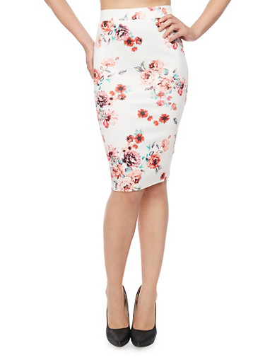 Floral Print Mid Length Pencil Skirt,WHITE,large
