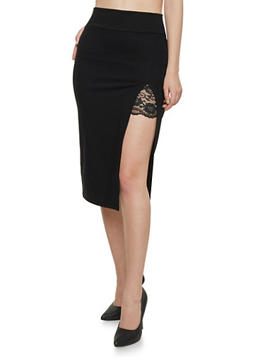 Midi Skirt with High Slit Lace Detail,BLACK,large