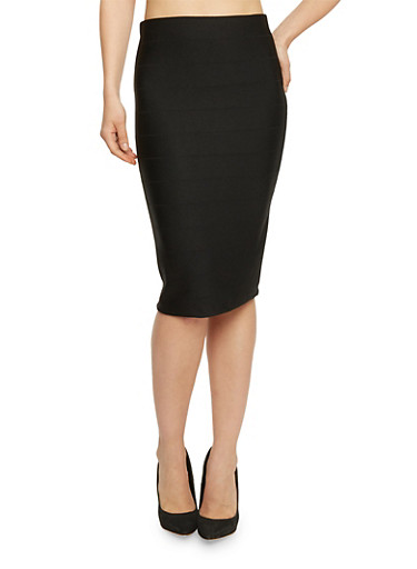 Midi Length Bandage Pencil Skirt,BLACK,large