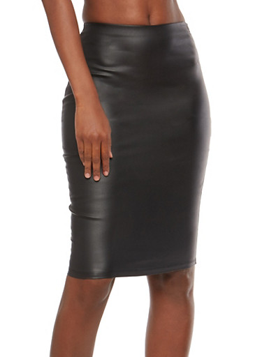 Coated Pencil Skirt,BLACK,large