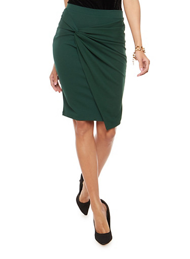 Twist Front Pencil Skirt,HUNTER,large