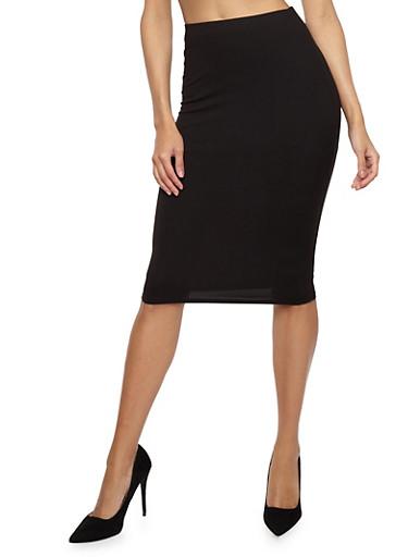 Soft Knit Pencil Skirt,BLACK,large