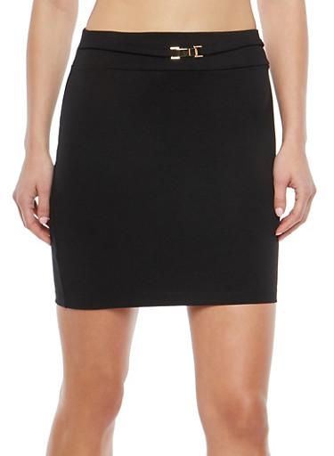 Belted Ponte Mini Skirt,BLACK,large