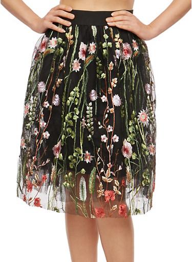 Embroidered Tulle Skater Skirt,BLACK,large