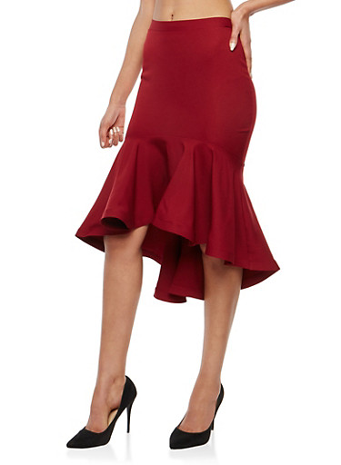 Flounce Hem Pencil Skirt,BURGUNDY,large