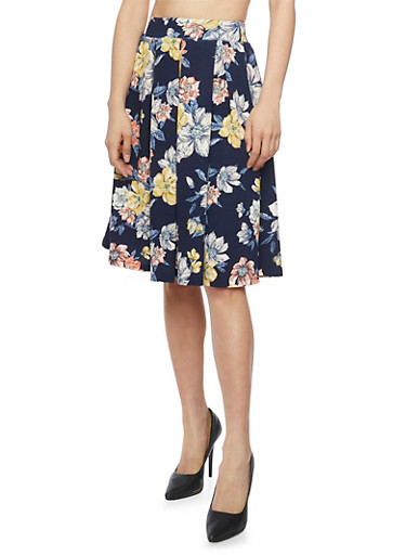Textured Floral Knit Pleated Skirt,NAVY,large