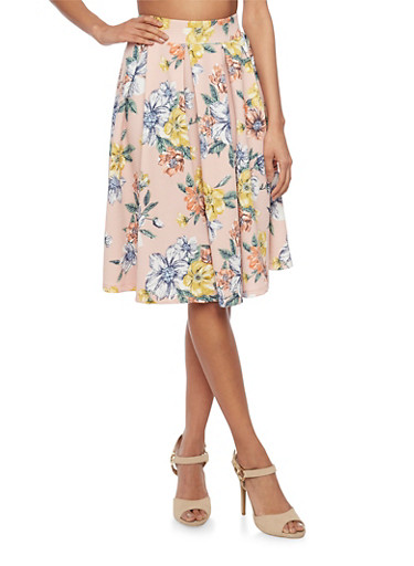 Textured Floral Knit Pleated Skirt,BLUSH,large