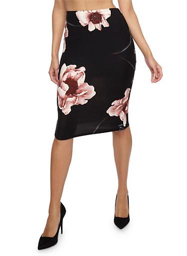 Floral Soft Knit Pencil Skirt,BLACK,large