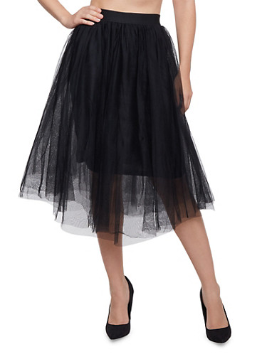 Skirt with Tiered Tulle Overlays,BLACK,large