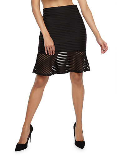 Shadow Stripe Skirt with Flounce Hem,BLACK,large