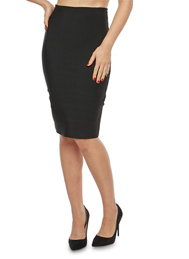 Solid Pencil Skirt,BLACK,large