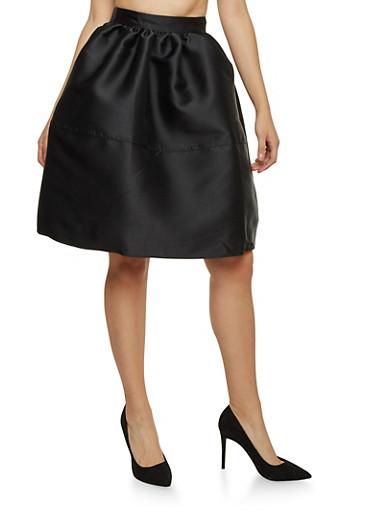 Full Satin Skirt,BLACK,large