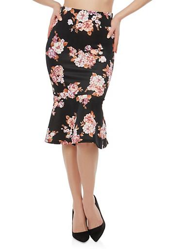 Floral Print Pencil Skirt with Flounce Hem,BLACK,large
