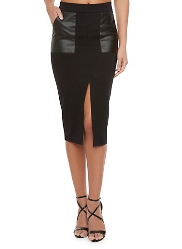 Midi Skirt with Faux Leather Pockets,BLACK,large