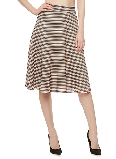 Textured Flared Midi Skirt with Mesh Stripes,BLACK/BLUSH,large