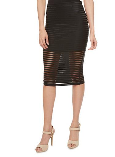 Ribbed Mesh Pencil Skirt with Mini Skirt Lining,BLACK,large