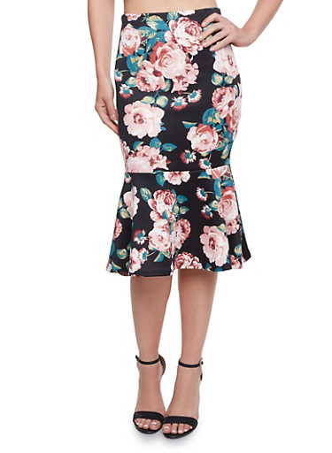 Pencil Skirt in Floral Print with Flounce Hem,BLACK,large