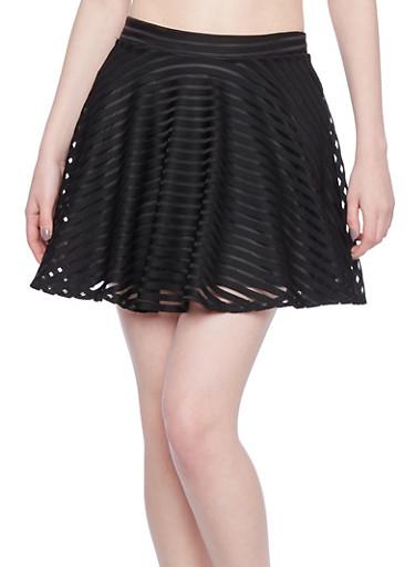 Shadow Stripe Skater Skirt,BLACK,large