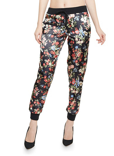 Joggers in Printed Satin,BLACK FLORAL,large