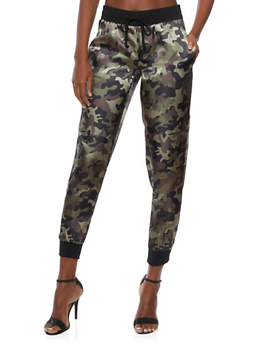 Joggers in Printed Satin,OLIVE CAMO,large