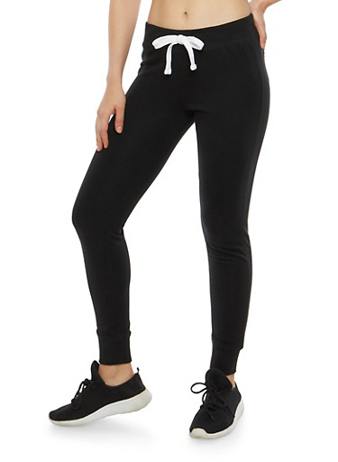 French Terry Sweatpants,BLACK,large