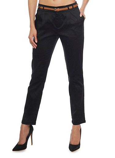 Pleated Casual Pant with Rolled Cuff,BLACK,large