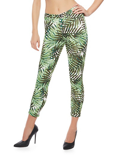 Printed Scuba Knit Pants with Rolled Cuffs,GREEN 2241,large