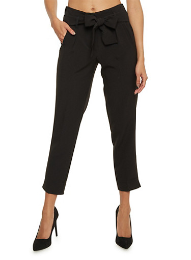 Pleated Pants with Tie Belt,BLACK,large