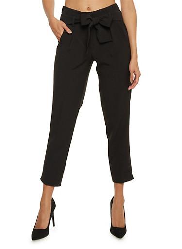 Tie Belt Pleated Pants,BLACK,large