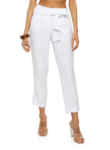 Tie Belt Linen Pants,WHITE,large
