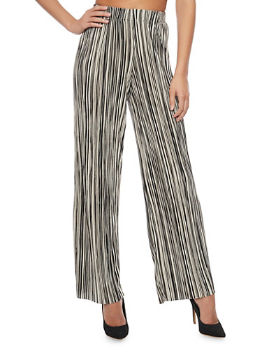 Striped Crinkle Knit Palazzo Pants,BLACK/WHITE,large
