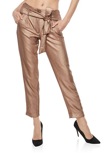 Belted Stretch Metallic Knit Pants,ROSE GOLD,large