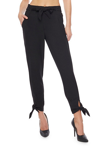 Cropped Casual Pant with Tie Waist and Leg,BLACK,large