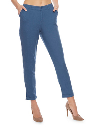 Cropped Linen Pants,CHAMBRAY,large
