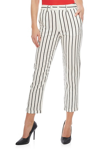 Striped 2 Button Tab Linen Cuff Pants,WHT-BLK,large